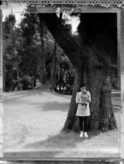A nice sweet Hug #2 (Papayaspoint) Tags: park family trees portrait blackandwhite baby nature landscape polaroid spring daughter mother negative wife fields 4x5 largeformat toyo