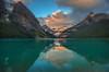 Lake Louise Just After the Alpenglow (PrairieBug) Tags: lakelouise canadianrockies banffnationalpark lake glaciallake victoriaglacier smcpentaxda15mmf4edallimited fairviewmountain mountvictoria mountwhite mountnibblock bigbeehive