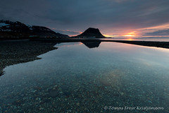 Grundarfjrur (Tmas Freyr) Tags: sunset sun reflection beach nature wet water clouds landscape mirror iceland kirkjufell sland snfellsnes grundarfjrur snaefellsnes landslag slsetur snaefellsnespeninsula grundarfjordur kirkjufellmountain