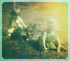 Sibling Rivelry (Photosintheattic) Tags: family friends rain sisters vintage effects tears crying siblings oldphoto 1960s cry cries bestfriends vintagephoto photoeffects thegoodolddays yardphoto photointheyard