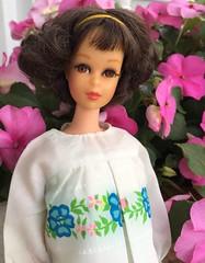 Francie and Pink Impatiens (Foxy Belle) Tags: francie doll barbie mod mattel vintage outside flower pink impatiens