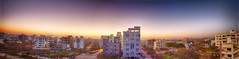 Panorama of sunrise (Sri Captures's) Tags: lighting morning blue sky sun india nature architecture sunrise canon buildings photography eos flickr day time award best hyderabad climate canon60d