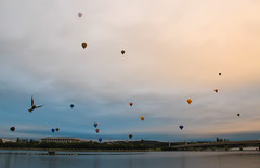 Taking off (e-maujean) Tags: sky hot bird clouds sunrise canon balloons flying cloudy library air canberra 600d