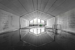 The Arrival of Spring (earthmagnified) Tags: architecture indoor chair green hallway attic reflection mirror vanishing point water symmetry symmetrical image abandoned abandonment room hospital