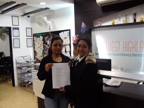 Jagdeep Kaur Receiving Australia Study Visa From Director