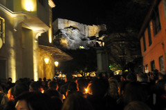 Candlelit Procession Below the Acropolis (RobW_) Tags: church easter good athens greece plaka april procession friday acropolis candlelit 2015 agia aikaterini apr2015 10apr2015