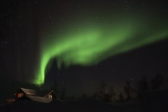 Cabin Under the Lights (AliJG) Tags: winter night finland europe lapland northernlights auroraborealis photographyworkshop tundrea photoquestadventures