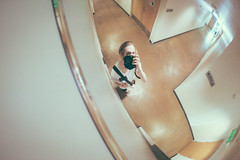 Selfer (uberblake) Tags: camera portrait man self myself mirror hallway exit bun selfie selfer