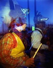 Sheffield Samba Band (pho-Tony) Tags: pink blue colour film yellow toy iso800 lomo lomography flash toycamera lofi cyan iso plastic negative filter kit filters 800 gel colorsplash lanternfestival coloursplash strobe holga120cfn plasticlens c41 colourflash tetenal