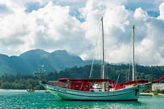 2014-09-03 269005 (abusen) Tags: blue sky cloud green beach nature water colors clouds landscape island boat skies cloudy hills malaysia langkawi landescape lanscape landcape greeny