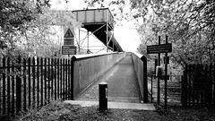 Bridge Over High Speed Tracks. (ManOfYorkshire) Tags: bridge blackandwhite bw horse nature monochrome contrast train high crossing cross steel telephone sony main over tracks large reserve railway line bollard eastcoast substantial riders pottericcarr ecml bessacarr hx400v