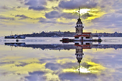 Maiden's Tower, Istanbul (Ozcan MALKOCER) Tags: sunset sea sky cloud sun seascape reflection tower architecture photography daylight boat day ship cityscape cloudy istanbul mosque architectural cloudysky maidenstower colorimage famousplace horizontalimage istatatrkarboretumu170