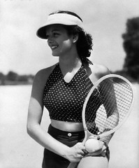 42-32405363 (boodiebembra) Tags: portrait people usa sports beauty hat smiling fashion female vintage ball outdoors one clothing holding women pattern adult good profile posing lifestyle happiness retro nostalgia tennis polkadots spots american oldfashion northamerica shorts recreation brunette dots sideview youngadult halflength halter racket visor oneperson stylish oldfashioned oldtime darkhair headgear sportsequipment facialexpression northamerican exercising 20sadult physicalfitness youngadultwoman 1819years ridingtack healthylifestyle 1930sstyle sportsclothes topgarment 2024years