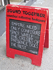 Bound Together, San Francisco, CA (Robby Virus) Tags: sanfrancisco california street sign book store bookstore haight together signage anarchist bound collective aframe