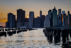 Downtown, NYC - Dumbo (ravi_pardesi) Tags: city nyc sunset sky newyork water skyline docks evening downtown meditate waterfront outdoor dusk piers cityscapes serene meditation awesomeness skyscrapper spring2016
