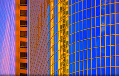 Heat Wave (Michael Holden) Tags: california abstract hot reflection sunrise grid us losangeles skyscrapers unitedstates heat dtla primarycolors shimmer heatwave
