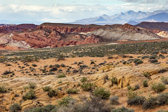 Mouse's Tank Road, Valley of Fire (lycheng99) Tags: travel vegas red sky mountains color valleyoffire texture nature colors landscape rocks colorful desert lasvegas nevada bluesky hills valley wilderness redrock rockformation mousestankroad
