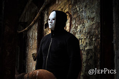 freddy (1 of 1) (@JepPics) Tags: old white brick wall standing hoodie industrial mask rustic creepy creep creeps gur