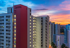Sunset HDR (drumbunkerdragon) Tags: blue light sunset red orange beautiful clouds buildings landscape twilight singapore long exposure skies apartment sony ii hour blocks residential hdb hdr skyscrapper repainted rx1r