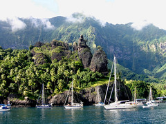 FatuHiva_a small and deep anchorage (Slackadventure) Tags: sun water boats islands sailing pacificocean cruisers circumnavigation marquesas slackadventure