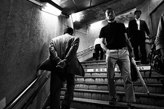 Subway (Jiajun Yang) Tags: street people blackandwhite japan prime blackwhite streetphotography osaka ricohgr monochrone