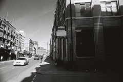 Corner of Commercial Street & Thrawl Street (goodfella2459) Tags: street white black london history film analog corner 35mm court jack george nikon kodak trix mary crime commercial 400 kelly whitechapel milf f4 spitalfields hutchinson ripper millers thrawl