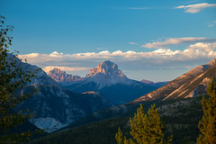 Crowsnest Mountain - Redux (Patstirling) Tags: world road trip travel blue camping trees sunset camp sky sun mountain green leaves clouds landscape golden is 24105mmf4l view weekend britishcolumbia pass peak ridge explore alberta valley hour crowsnest vista wife backcountry layers usm polarized range offroading goldenhour conifers fav25 canon6d