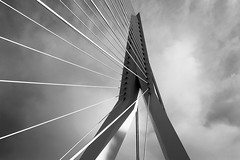 Erasmus bridge - Rotterdam (Imagesphere_nl) Tags: blackandwhite monochrome architecture rotterdam abstract lines outdoor bridge 100v10f reflection basin industrial landscape light industry sky clear shape texture city cityscape urban social space structure building