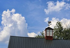 Cock-of-the-walk (~ Liberty Images) Tags: glassroostercannery ohio sunburyoh libertyimages centralohio barn redbarn bluesky summer summertime weathervane roosterweathervane cockerel americana fishingrooster