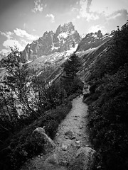 Mer de Glace (AmyEAnderson) Tags: bw mountains mountainrange merdeglace france europe rhonealpes alps path trail scenic view montblanc