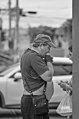 """promise you won't buy any more sweets - that's a good boy"" (FimRay) Tags: blackandwhite humor humour funny amusing candid street traditionalstreet monotone monochrome bw people overweight fat man men stomach belly"