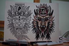 The unfinished split sketch of two masters @gabrielgozzer @johnny_domus_mesquita (Yves Cordina) Tags: tattoo 35mm sketch nikon malta portal demons d90