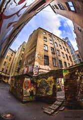 Old yard (Anton Sowin) Tags: old city sky up canon graffiti russia wide fisheye spb samyang 550d club16 samyang8