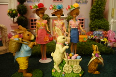We're Stepping Out For An Easter Parade... (Primrose Princess) Tags: flowers vintage doll barbie easterbunny dollhouse easteregghunt easterbonnet easterparade vintagedresses eastergarden vintagebarbie vintagepurse 1961bubblecutbarbie