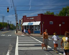 (NC Cigany) Tags: street blue red people woman kids nc crossing charlotte wires pedestrians