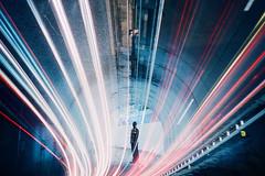 -night on the galactic tunnel (Hodaka Yamamoto) Tags: longexposure car silhouette night star lomo lca lomography highway doubleexposure tunnel double lomolca multipleexposure doubles multiexposure