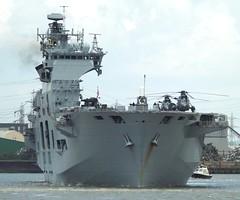 HMS Ocean L12 (10) @ Gallions Reach 07-08-15 (AJBC_1) Tags: uk england london boat ship unitedkingdom military navy vessel riverthames lph nato warship eastlondon rn gallionsreach royalnavy northwoolwich newham britisharmedforces amphibiousassaultship navalvessel hmsocean l12 britishmilitary landingplatformhelicopter seakingasac7 dlrblog ajc
