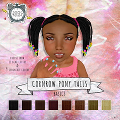 .{Recess}. - Cornrow Pony Tails! - Toddleedoo Hair (hellosolaris) Tags: life pink girls red brown black cute hair children beads colorful pony secondlife kawaii blonde second multicolor tails scrunchie cornrow addicts secondlifefashion slhair toddleedoo