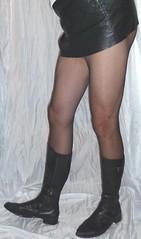 0015 (bib birdy) Tags: black leather boots skirt pantyhose tv tg cd tranny tgirl transgender crossdresser sandals xdresser trans transvestite high heel overknee crotch wetlook dress skintight skinny tight nylon lycra spandex gogo gogoboots pvc