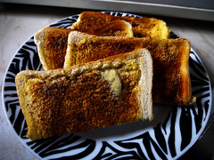 Toasted Delights (Alan FEO2) Tags: food brown white black hot bread toast cook plate indoors butter melted simple plain eatwhatyouwantday 2oef 116picturesin2016