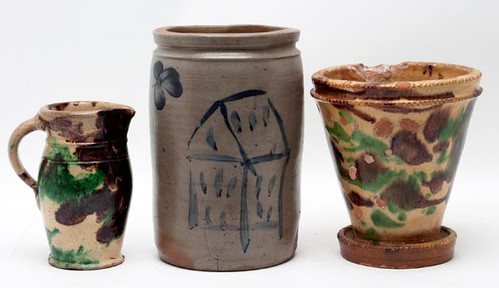 P. Hermann attr. Crock ($1,650.00) & Strasburg, VA/Eberly attr. Multi Glazed (far right photo) ($330.00)