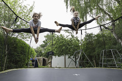 Week twenty three - Looney Leap (Damien Walmsley) Tags: trampoline midair tumbling twinsisters looneyjump