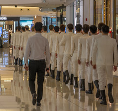 Quick march ! (stevefge) Tags: china shanghai people white fashion reflectyourworld reflections