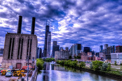 Willis Tower from Roosevelt bridge (Artemortifica) Tags: city chicago st river trains taylor metra willistower