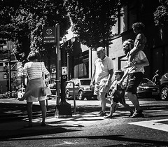 All You Can Carry (TMimages PDX) Tags: road street city people urban blackandwhite monochrome buildings portland geotagged photography photo image streetphotography streetscene sidewalk photograph pedestrians pacificnorthwest avenue vignette fineartphotography phoneography