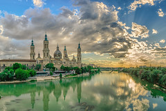 Cathedral Zaragoza (hamzaqayyum) Tags: city sunset summer church water architecture buildings river spain europe cathedral zaragoza ebro hdr