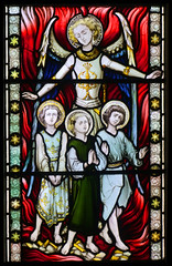 The intervention of angels: Shadrach, Meshach and Abednego in the Burning Fiery Furnace (Hardman & Co, 1872) (Simon_K) Tags: cambridge church university churches colleges stmichael cambridgeshire eastanglia cambs michaelhouse churchess