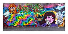 Graffiti (The Rolling People), East London, England. (Joseph O'Malley64) Tags: uk greatbritain england streetart london tarmac wall graffiti mural paint britain spray workshop gradient british walls cans aerosol brk kev brickwork incline eastend eastlondon wallmural seks cept silkey trp muralists tly therollingpeople sceo