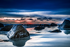 sunset #3 (wianphoto) Tags: sunset sea summer sky sun beach water clouds thailand asia cloudy stones sunny olympus wianphoto