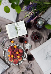 Picnic time (Kate Morozova) Tags: picnic canon 50mm14 6d summer stilllife berry flowers tea book beautiful cherry